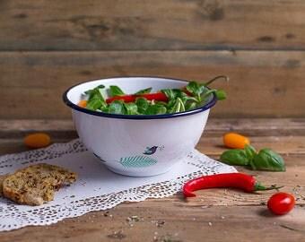 Enamel bowl, serving bowl, garden enamel bowl, picnic bowl, campfire bowl, travel bowls, picnic bowl, vintage bowl, Spring large bowl