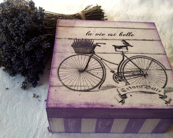 Decoupage Box Wooden jewelry box Decoupage Lavender Box Wedding Wishes Box Shabby Chic furniture Vintage Box shabby chic jewellery box