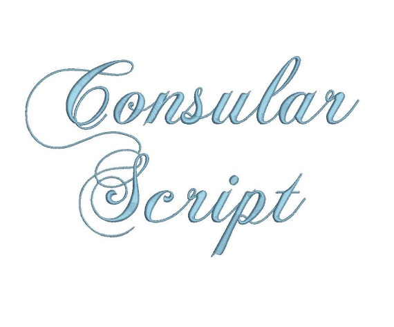 Consular script embroidery font formats dst exp pes jef and