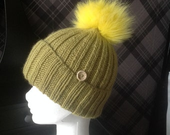 Chunky Super Soft Pistachio Wool/Alpaca Hat Fox Fur Pom Pom