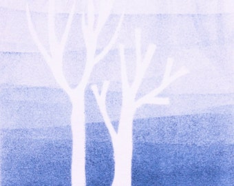 Monoprint Winter trees in the fog