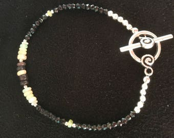 Black Spinel and Ethiopian Opal Bracelet! Free Shipping Within The USA!