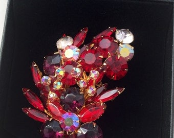 1950's Red Rhinestone Brooch