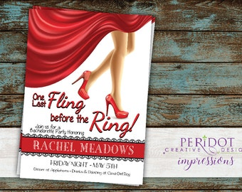 "One Last Fling Before The Ring - Bachelorette Party Invitation - 5""x7"" Printable"