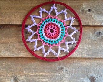 Winter Mandala Crochet Homedecor Handmade Wall Dreamcatcher ***SALE***