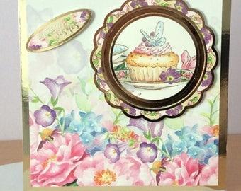 Handmade Birthday Card, handmade greetings card, cupcake card, floral card, female birthday card, birthday wishes