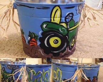 Hand Painted Tractor Easter Bucket