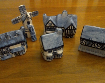 20% off Cottages / Village Ceramic Hand-painted Pottery signed W.S. Gibson Camden Lock London