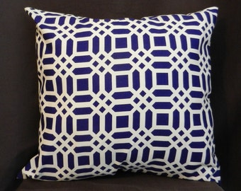 Pillow Cover 18 x 18, Navy Blue and White Lattice Print