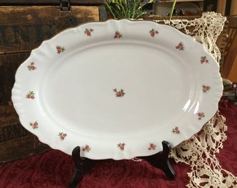 Rosebud by Winterling Large Serving Platter / Bavaria Western Germany