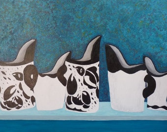 Acrylic painting on board. Millenium Jugs