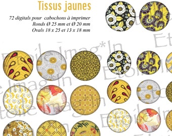 Board 72 digital * fabrics yellow * to print for cabochons