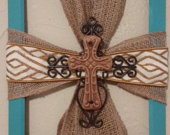 Burlap, Ceramic Cross Picture Frame, Wall Hanging, Home Decor, Religious Decor