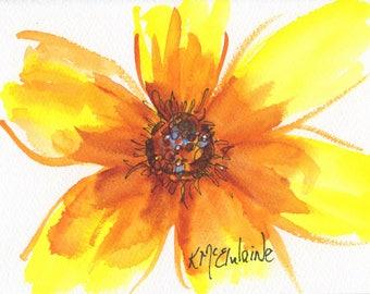 Sunburst II Watercolor Painting ORIGINAL Art - Signed Painting 5x7  inches  Colors  Art