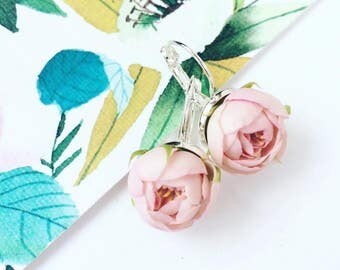 Rose earrings, English garden rose, wish earrings, botanical earrings, greenery wedding, nature earring gift, rustic earrings