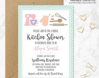 Kitchen shower invitation, Bridal kitchen shower invitation, Kitchen shower invitation printable, Printable file, Digital invitation