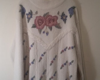 END of WINTER SALE! Floral embroidered hipster Grandma sweater