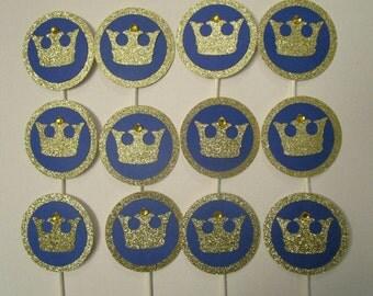 Prince cupcake toppers, Prince themed cupcake toppers, Blue and Gold cupcake toppers