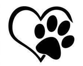 Dog Paw Heart Decal, YETI, RTIC, Tumbler Decal, Water Bottle Decal, Car Decal, Truck Decal