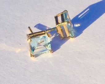 14k Aquamarine Earrings 5mm *NOS* SALE