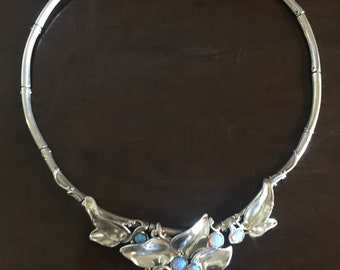 Opal and Sterling Silver Designer Necklace