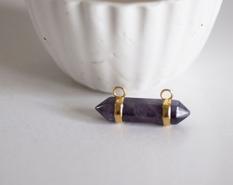 Advanced support pendant Golden double purple amethyst ring