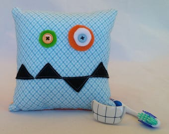 Monster Tooth Fairy Pillow - blue check, black teeth, orange back