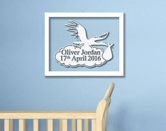 Personalised New Baby Stork With Cloud Framed Papercut- Custom Baby Shower Gift Print Cut