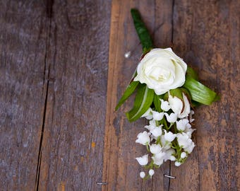 White Ivory Boutonniere, Rose Buttonhole Lapel Pin, Groom, Groomsmen, Silk Flower Men's Wedding Accessories, White Boutonniere, Bout