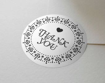 "Transparent or Silver Foil ""Thank You"" Ornate Labels Stickers Seals #R4001"