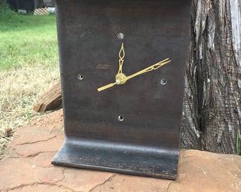 "8"" Steel I-Beam Clock   Steel Clock   I-Beam   Metal Clock   Industrial Clock   Father's Day   Desk Clock   Industrial Decor   Modern Clock"