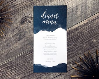 Starry Night Navy Blue Watercolor Texture Printable Wedding Menu