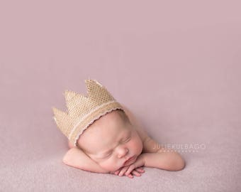 Newborn Crown - Newborn Photography Prop Crown - Newborn Photo Prop Headband Tieback - Baby Crown - Natural Photography Prop - Newborn Prop