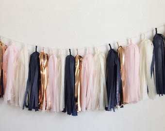 Tissue paper tassel garland >>> light pink,rose gold , cream , navy Tassel Garland