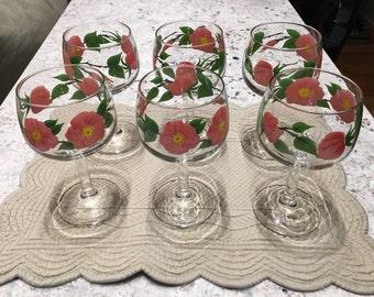 Vintage Franciscan Desert Rose Wine/Water Goblets - Set of 6