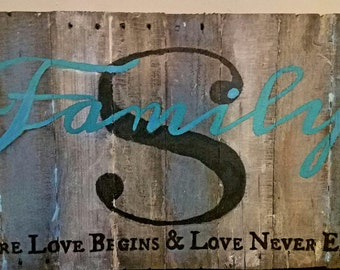 Family Monogram Wood Sign