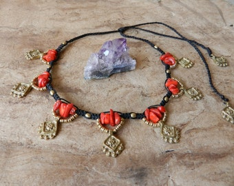 Tribal Necklace Coral