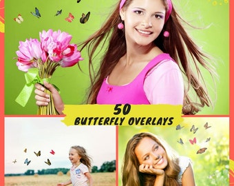 50 Butterfly Overlays Photoshop, Natural Flying Butterflies, Photography Overlays, Spring Summer Overlays, Digital backdrop, Butterfly Png