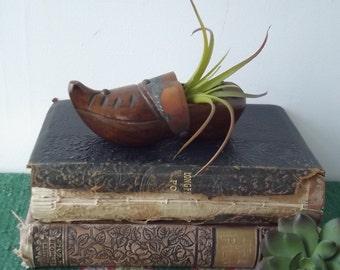 Vintage Carved Wooden Shoe Ashtray/Cigarette Holder/Trinket Holder/ Copper Accent