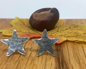 Silver star studs, star studs, Silver star earrings, star earrings, Pure silver, stud earrings, silver studs, handmade, silver stars