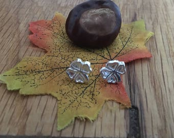 Good luck gift, Lucky Shamrock stud earrings, Silver Lucky Shamrock earrings, Silver Lucky Shamrock, Shamrock, studs, earrings, Good fortune