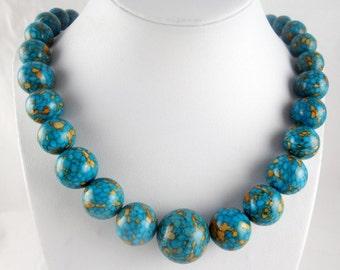 Stunning Multicolour Turquoise Agate Handmade Gemstone Necklace