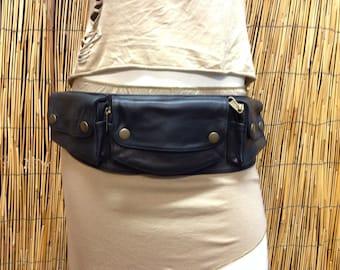 Fanny Pack belt shoulder Hip Bag Handbag travel bag of fur leather / black / strap / hand made / Unisex