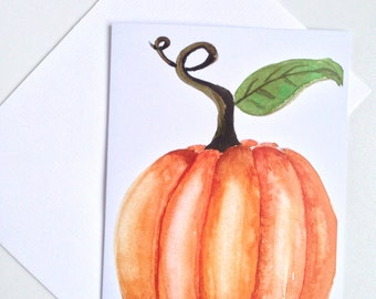 Watercolour greeting card, pumpkin, thanksgiving