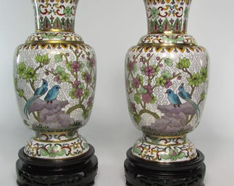 Pair Chinese cloisonne vases in the second half of the 20th century