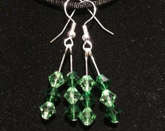 Swarovski crystal green earrings