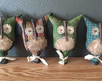 Primitive Owls with Old Spring Base