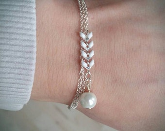 Bracelet chain and Pearl White