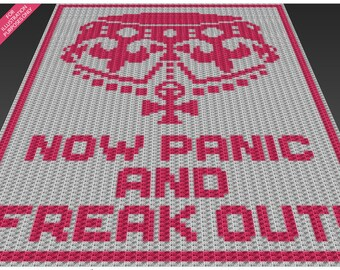 Now Panic crochet blanket pattern; c2c, cross stitch; knitting; graph; pdf download; no written counts or row-by-row instructions