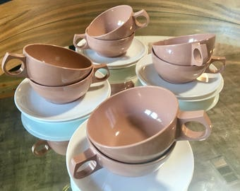 Durawear Melmac Cups Saucers Cocoa And Cream